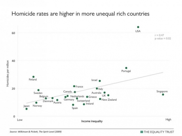 Homicide Rates Are Higher in More Unequal Rich Countries