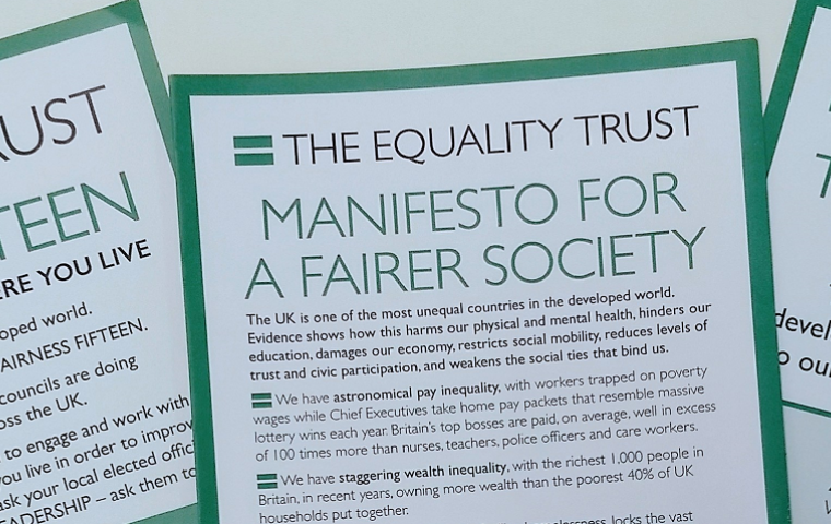 picture of three The Equality Trust manifestos - local national and individual