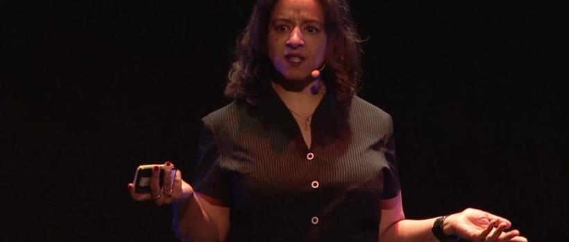 Dr Wanda Wyporska delivering TedX talk